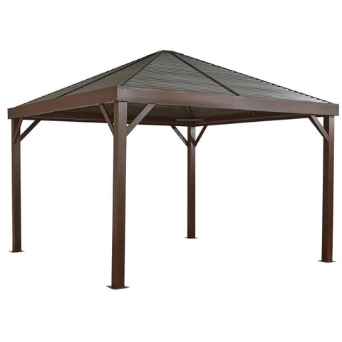 Image of Sojag South Beach Hard Top Gazebo Wood Finish 12 x 12 ft