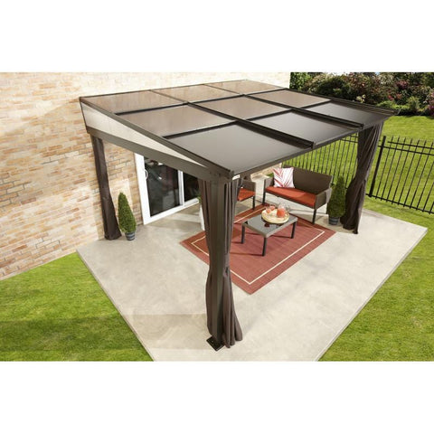 Image of Sojag Budapest Wall-Mounted Hard Top Gazebo 10 x 12 ft