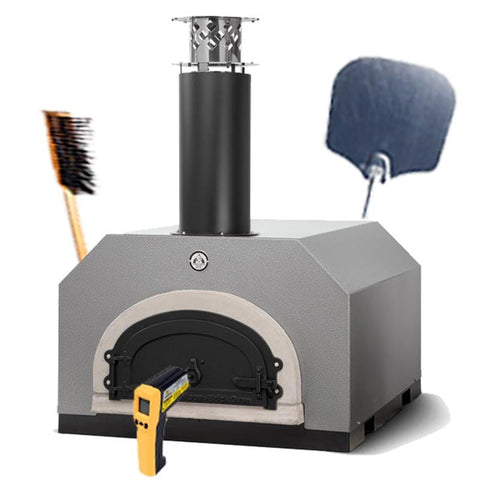 Silver CBO-750 Countertop Pizza Oven with Pizza Peel, Brush, and Infrared Thermometer