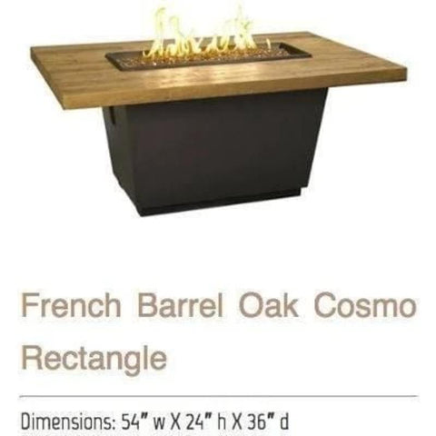 Image of Fire table: French Barrel Oak Rectangle By American Fyre Designs