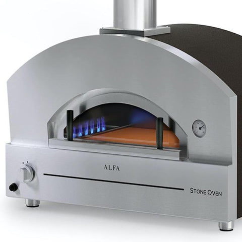 Image of Close-up of gas fired pizza oven by Alfa Ovens