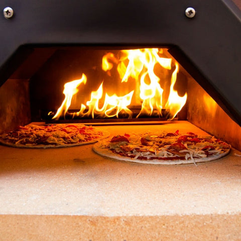 Pizza baking in Propane Pizza Oven