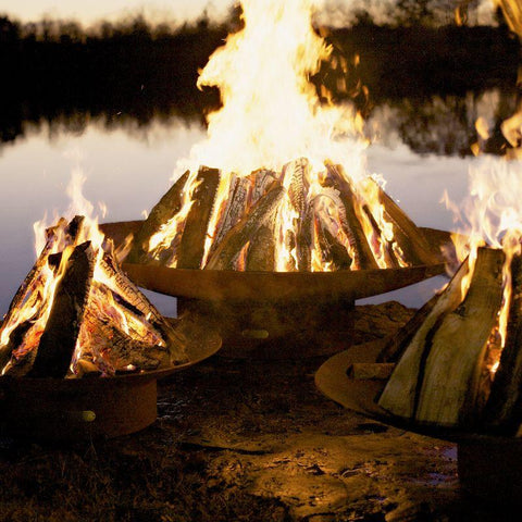 Image of Fire Pit Art - Gas and Wood Fire Pit - Asia 72-inch