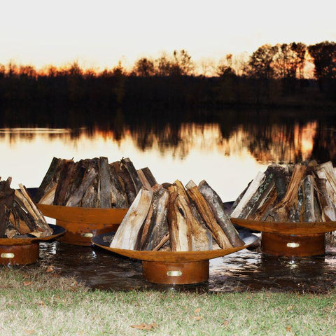 Image of Fire Pit Art - Gas and Wood Fire Pit - Asia 72""