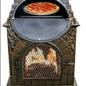 Image of Deeco Aztec Allure Cast Iron Chiminea Pizza Oven DM‑0039‑IA‑C - Patio & Pizza - 6
