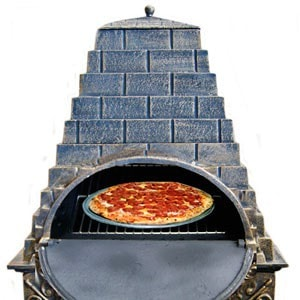 Image of Deeco Aztec Allure Cast Iron Chiminea Pizza Oven DM‑0039‑IA‑C - Patio & Pizza - 5