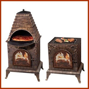 Image of Deeco Aztec Allure Cast Iron Chiminea Pizza Oven DM‑0039‑IA‑C - Patio & Pizza - 1