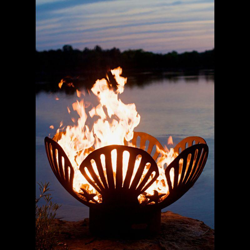 Fire Pit Art - Gas and Wood Fire Pit - Barefoot Beach
