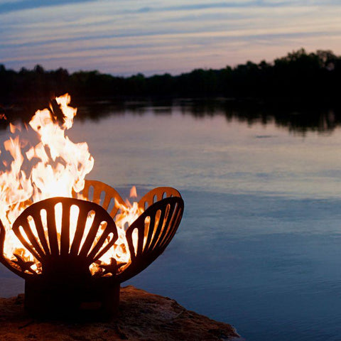 Image of Fire Pit Art - Gas and Wood Fire Pit - Barefoot Beach