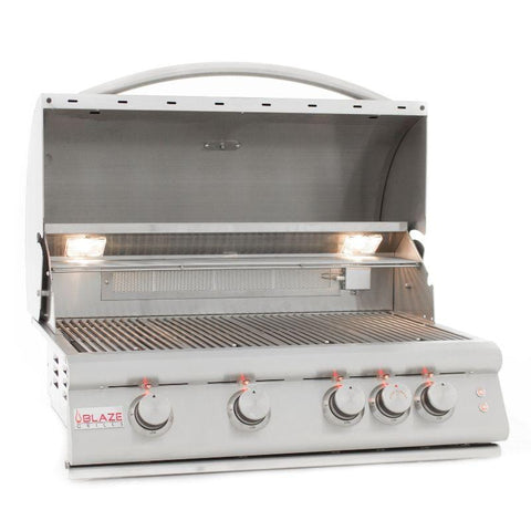 Blaze 32 Inch 4-Burner LTE Gas Grill With Rear Burner and Built-in Lighting System