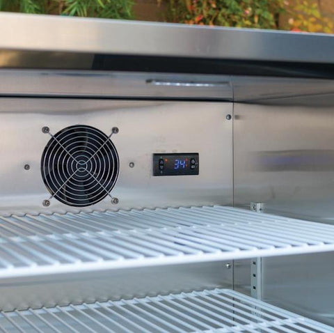 Inside the Outdoor stainless steel refrigerator