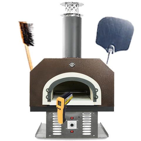 Image of Chicago Brick Oven Gas Countertop Oven with pizza oven brush, peel, and thermometer