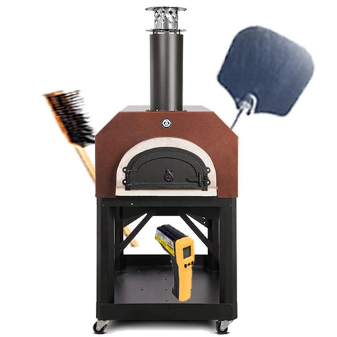 Image of Chicago Brick Oven 750 Portable Pizza Oven with pizza peel, brush, and infrared thermometer