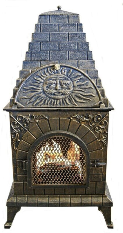 Deeco Aztec Allure Cast Iron Chiminea Pizza Oven DM‑0039‑IA‑C - Patio & Pizza - 4