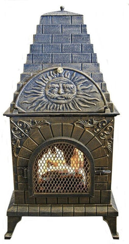 Image of Deeco Aztec Allure Cast Iron Chiminea Pizza Oven DM‑0039‑IA‑C - Patio & Pizza - 4