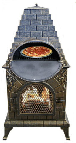 Image of Deeco Aztec Allure Cast Iron Chiminea Pizza Oven DM‑0039‑IA‑C - Patio & Pizza - 2
