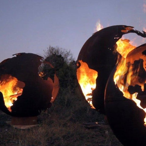 Image of Fire Pit Art - Gas and Wood Fire Pit - Third Rock