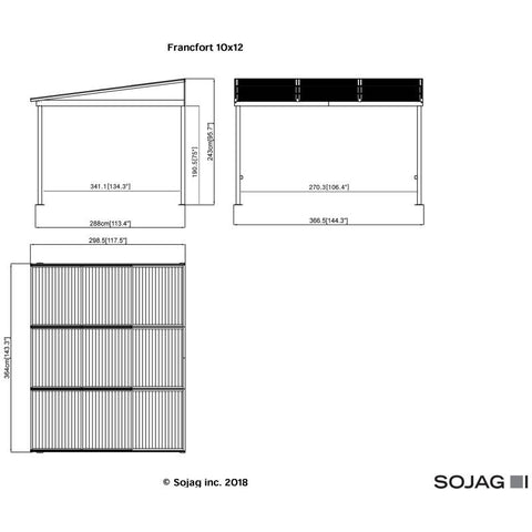Image of Sojag Francfort Wall-Mounted Hard Top Gazebo 10 x 12 ft