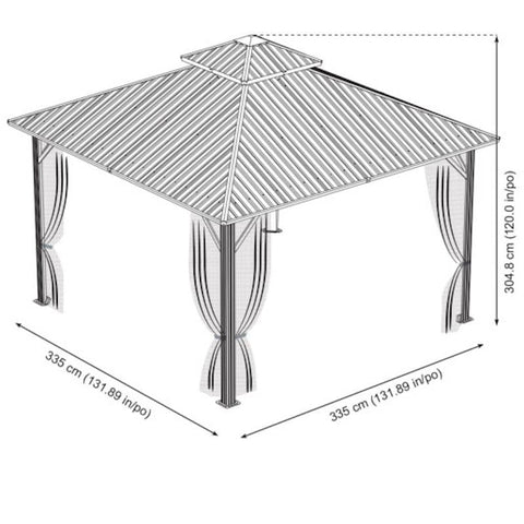 Image of Sojag 12x12 Genova Double gazebo dimensions