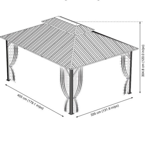 Sojag 12x16 Genova Double gazebo schematic