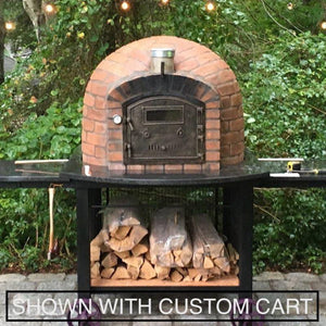 Brick Pizza Oven from Authentic PIzza Ovens sitting on pizza oven cart