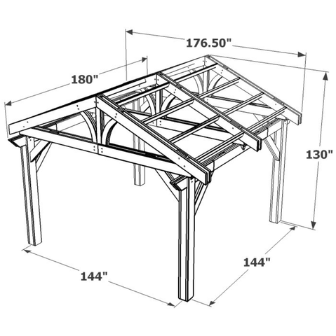 Image of 14 x 14' Mocha Lodge II Wood Pergola Kit Spec Sheet