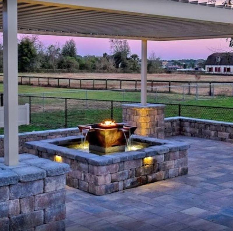Maya Fire & Water Bowl under outdoor pergola
