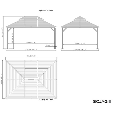 Image of Sojag Mykonos II Hard Top Gazebo with Steel Roof