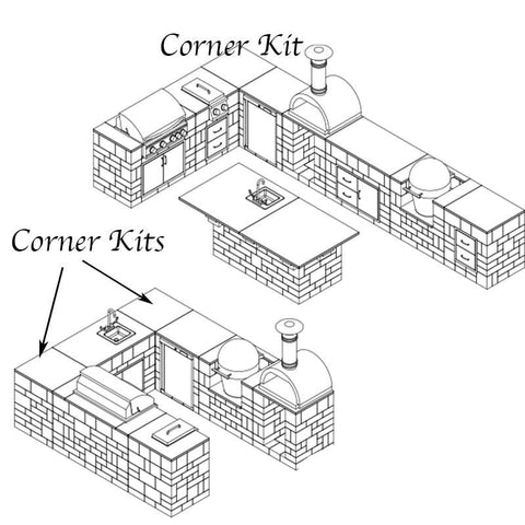 Image of Diagram with Necessories corner kitchen outdoor living kits