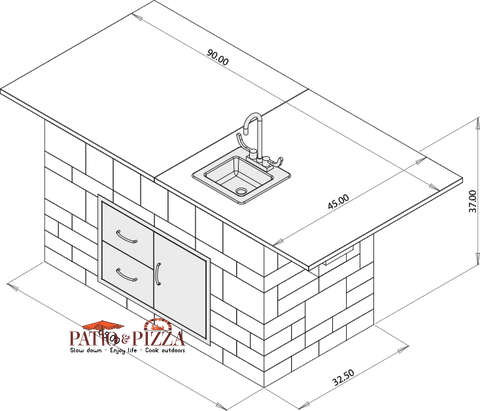 Image of Necessories Kitchen Island Cabinet Drawing