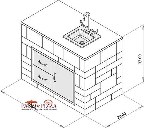 Necessories Kitchen Prep Center Cabinet Kit Drawing