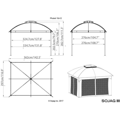Sojag Phuket Soft Top Gazebo 10 x 12 ft