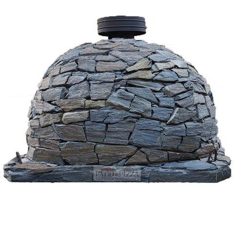 Back of the Pizzaioli Brick Pizza Oven with Stone Finish