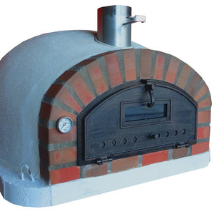 Brick pizza oven with rustic arch
