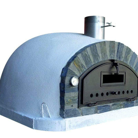 Left side of the Pizzaioli Premium Brick Pizza Oven with Stone Face