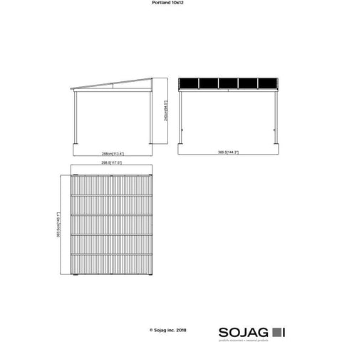Sojag Portland Wall-Mounted Hard Top Gazebo