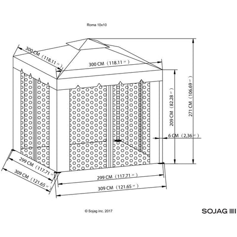 Sojag Roma Soft Top Gazebo