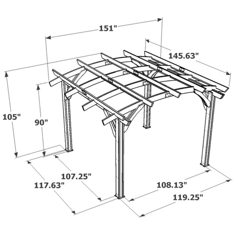 Pergola Kit Specifications for 12x12' Mocha Sonoma Wood