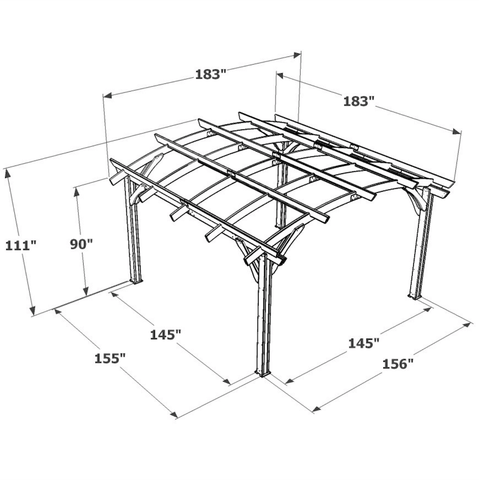 Redwood Sonoma Wood Pergola Kit 16x16 spec sheet