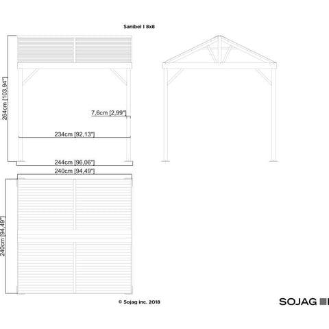 Sojag Sanibel I Hard Top Gazebo with Steel Roof