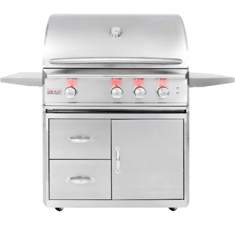 Image of Blaze Professional 34-Inch 3 Burner Built-In Gas Grill With Blaze Professional 34-Inch Grill Cart