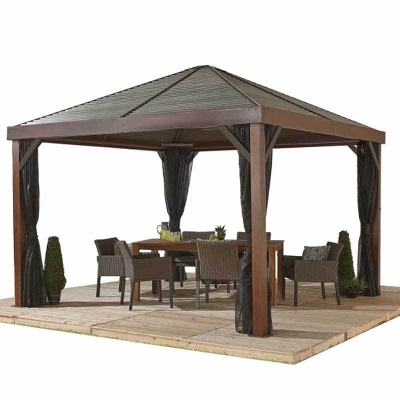 Brown hard top gazebo for outdoor dining
