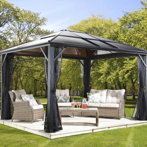 Image of 500-8162936 Meridien Outdoor Gazebo covering patio furniture