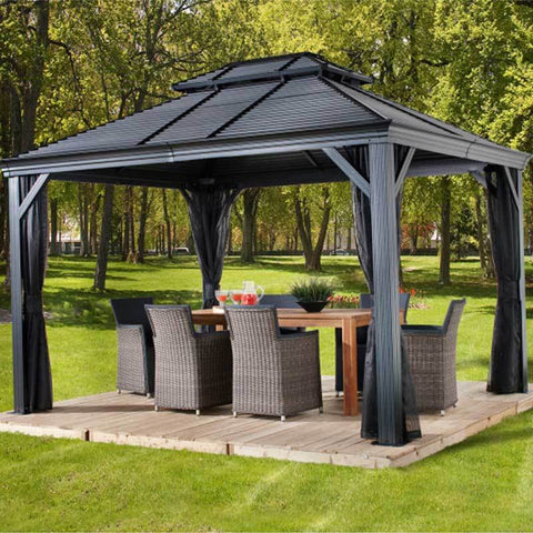Image of Hard Top Gazebo with Steel Roof covering patio furniture