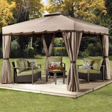 Image of Soft top gazebo covering patio furniture on sunny day by Sojag Roma