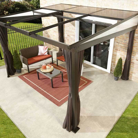 Image of Sojag Budapest Wall-Mounted Hard Top Gazebo with retractable roof covering patio furniture