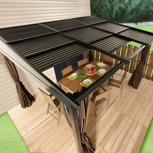 Sojag Francfort Wall-Mounted Hard Top Gazebo with Retractable Roof