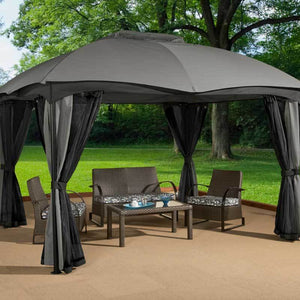 Soft top gazebo covering patio furniture by Sojag Phuket