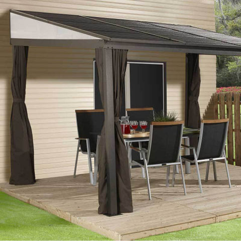 Sojag Portland Wall mount gazebo with curtains on patio