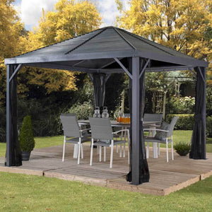Dine outside with a Sanibel steel roof gazebo